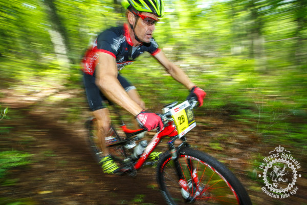 Steve Mee rallies down the first enduro segment of the Tussey Stage