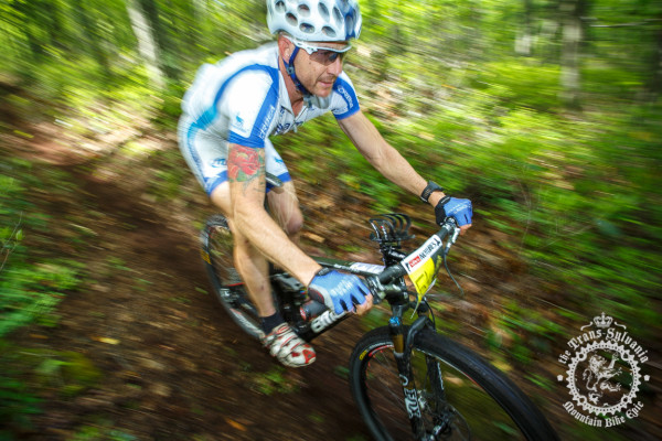 Mike Hebe descends A loamy trail in the beginning of the Tussey Stage