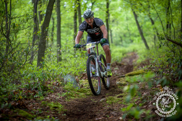 Kevin Maldonado rides down a descent on a trail new to the Trans-Sylvania Epic