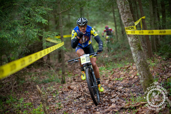 Carlos Rodriguez rides through taped singletrack sections of R.B.Winter State Park