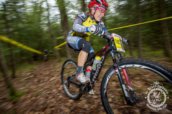Cheryl Sornson rides the lower section of the enduro segment leading the women