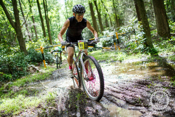 Rich Dillen rides a muddy trail to the Stage 6 s inglespeed win