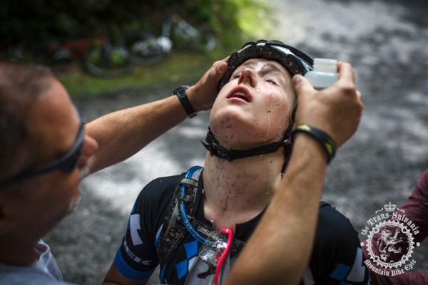 Ellen Noble gets an eye wash after a fast descen t with airborne mud and pollen