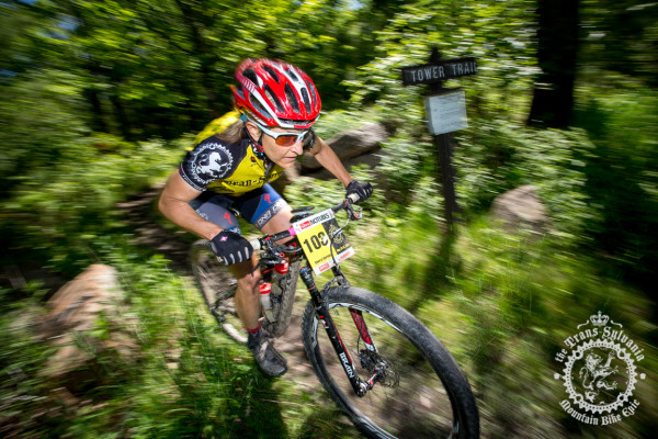 Cheryl Sornson exits the Tower Trail to the gravel descent