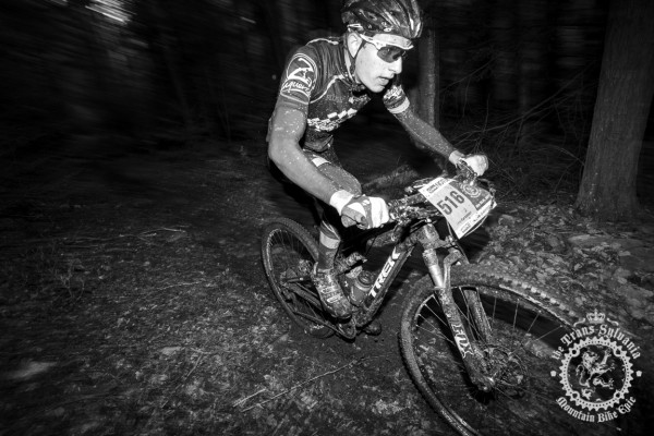Levi Kurlander rides through the dark forest section of R.B.Winter State Park