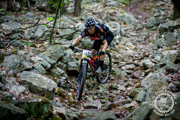 Spencer Paxson picks his way through Wildcat Gap as he finishes the fourth stage