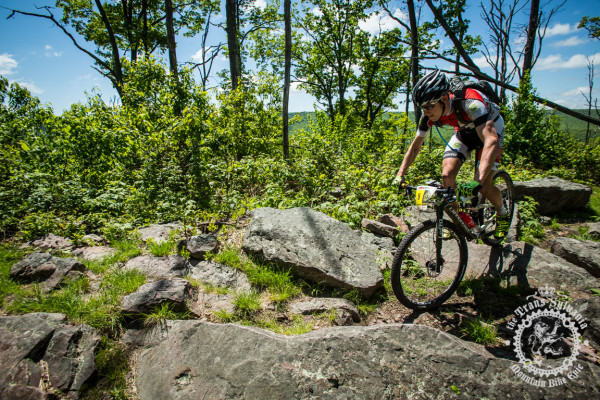 Benjamin Sonntag rolls through rock garden on to p of Tussey Ridge Trail