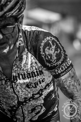 Jim Matthews ends up muddy and gritty after the stage with many gravel roads