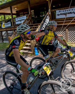 Mike Festa and Craig Lebair roll across the finishing line of Stage 7