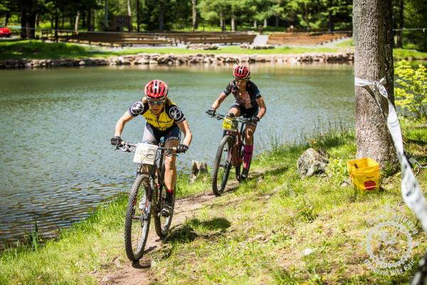Cheryl Sornson and Selene Yeager finish the lap around the lake to finish the Trans-Sylvania Epic