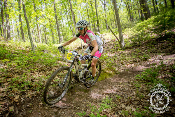 Vicki Barclay hits a bermed trail enduro segment on her way to the stage win