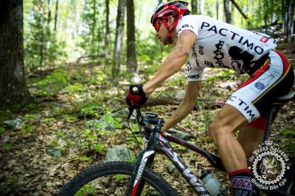 Payson McElveen riding through the woods of Stage 2