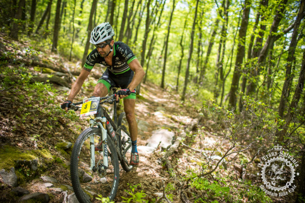 Drew Edsall finishing riding a rock garden on the enduro section of Stage 2