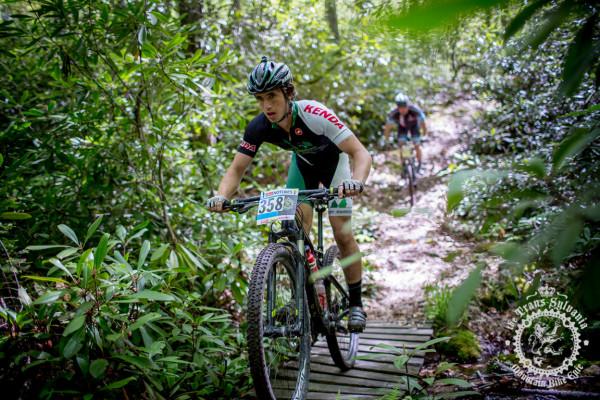 Junior rider Scott McGill Jr. crosses a stream.