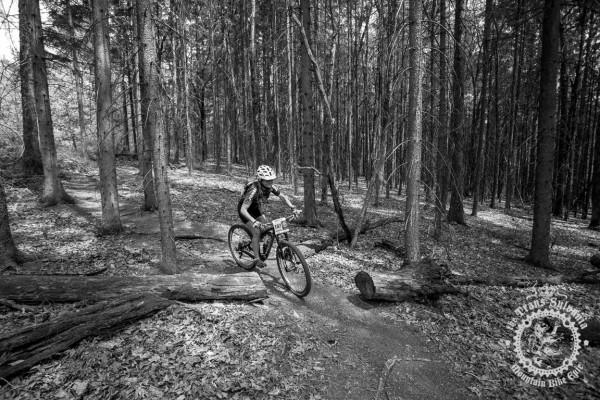 NoTubes Trans-Sylvania Epic Experience rider Carlota Moncada smiles through the gorgeous Pennsylvania forests.