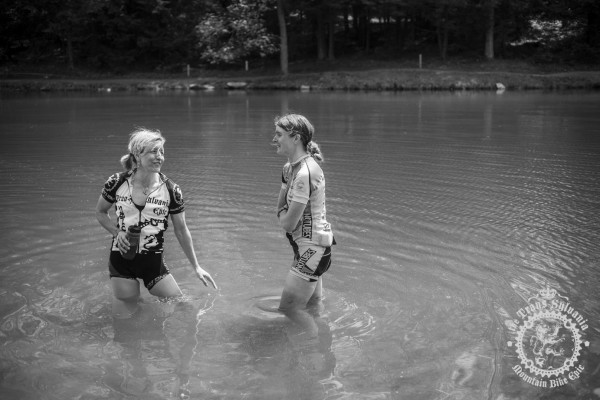 Open Women's riders Vicki Barclay (Stan's No-Tub es Womens Team) and Cheryl Sornson (RDC) cool down after a close finish in today's 41-mile stage.