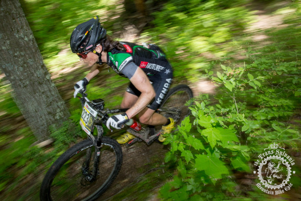 Olympian Mary McConneloug (Kenda/NoTubes) in action during the 2014 NoTubes Trans-Sylvania Epic mountain bike stage race.