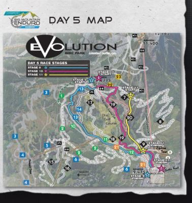 Three stages at Evolution Bike Park for the final day. One pedal fest, one a little bit of both, and the new dh trail.