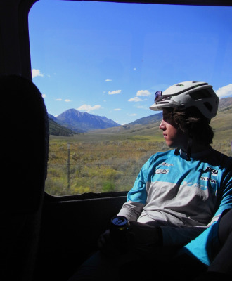 Joey, and the rest of the crew on the shuttle, admire the views on our way back to town.