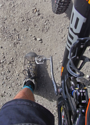 Keen hiking boots paired nicely with my Shimano SPD pedals; particularly because my feet were on the ground for most of the day 4 ascent.