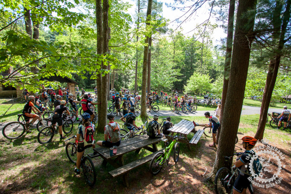 Riders wait at the start of stage 5 of the NoTubes Trans-Sylvania Epic at R.B. Winter State Park.