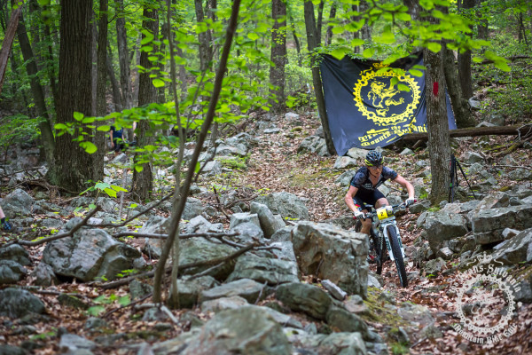 Aaron Albright (Trans-Sylvania Epic/NoTubes) descends the rocky Wildcat Trail in the NoTubes Trans-Sylvania Epic Mountain Bike Stage Race.