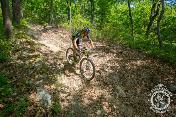 Dan Timmerman (Riverside Racing) descends a fast, dry section of trail during stage 7 of the NoTubes Trans-Sylvania Epic.