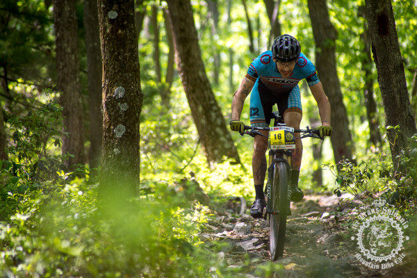 Michael Wissell (Cuppow/Geekhouse/B2C2) descends a rocky section of trail at the NoTubes Trans-Sylvania Epic.