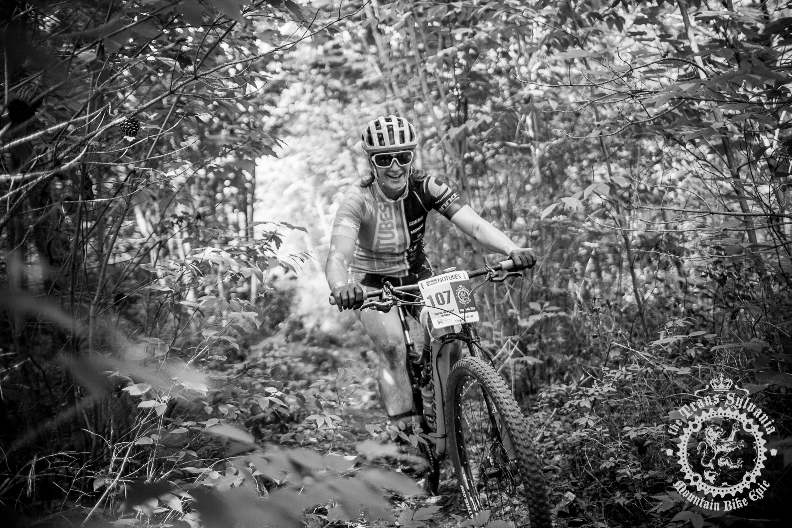 Sue Haywood (Stan's NoTubes Elite Women's Team) enjoys the singletrack during stage 7 of the NoTubes Trans-Sylvania Epic.