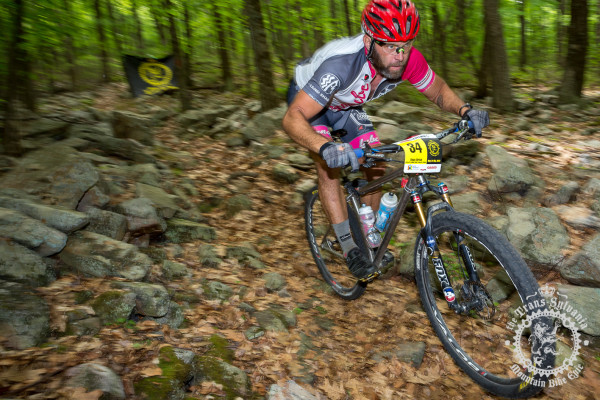 Dejay Birtch (Stan's NoTubes/Rudi Cycling Art/Osprey) finishes off the fourth enduro segment on the Wildcat Trail.