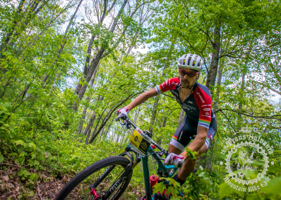 Payson McElveen (Competitive Cyclist) on his way to winning stage 1 in the elite men's category.