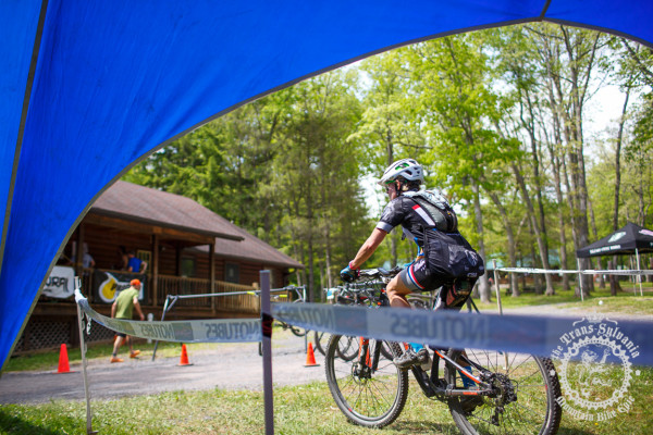 A rider passes into the finishing stretch of stage 2 of the NoTubes Trans-Sylvania Epic.