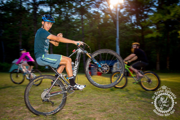 Jorge Munoz Jr. (Colt Training Systems) shows off his skills on Wheelie Wednesday. at the NoTubes Trans-Sylvania Epic.