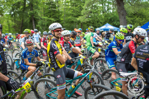 Payson McElveen (Competitive Cyclist) waits for the start of stage 4 of the NoTubes Trans-Sylvania Epic.