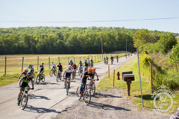 Riders roll through the neutral start of the Cooper's Gap stage 2 of the NoTubes Trans-Sylvania Epic.