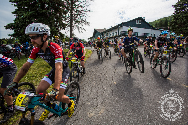 Riders roll out for the start of the enduro stage of the NoTubes Trans-Sylvania Epic mountain bike stage race.