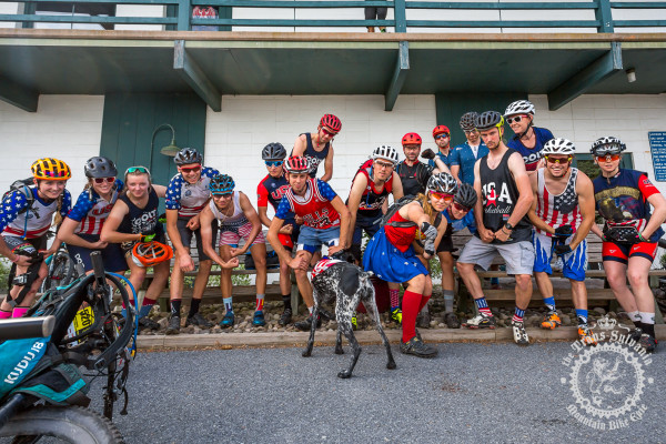 Colt Training Systems riders have some fun for the day by all donning Team USA kits for the enduro stage at the NoTubes Trans-Sylvania Epic Mountain Bike Stage Race.