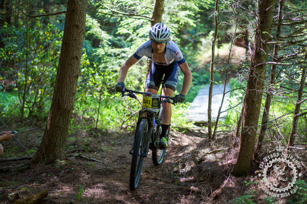 Scott Smith (JAM Fund/NCC/Vittoria) rides into a wooded section of singletrack at the NoTubes Trans-Sylvania Epic.