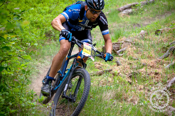 Joel Nankman (Giant Co-Factory Off-Road Team) leans into a corner on a fast descent at the NoTubes Trans-Sylvania Epic.