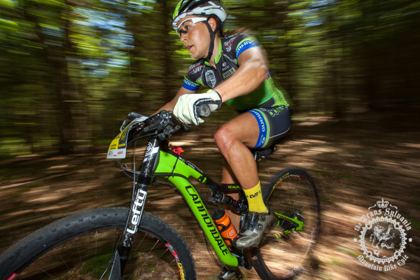 Crystal Anthony (Riverside Racing) blasts through the trees at the NoTubes Trans-Sylvania Epic.