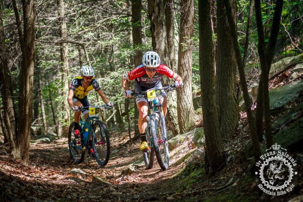 Justin Lindine and Payson McElveen (both Competitive Cyclist) work together off the front in the NoTubes Trans-Sylvania Epic.