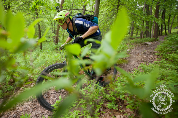 Cody Phillips (Ibis Cycles Enduro Team) races toward a third place on the enduro day's stage at the NoTubes Trans-Sylvania Epic Mountain Bike Stage Race.
