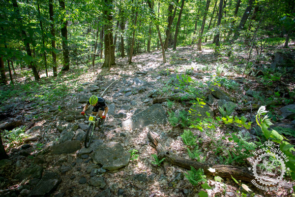 Jon Burgess (Oakley Atlantic Racing) navigates a field of rocks in stage 6 of the the NoTubes Trans-Sylvania Epic.