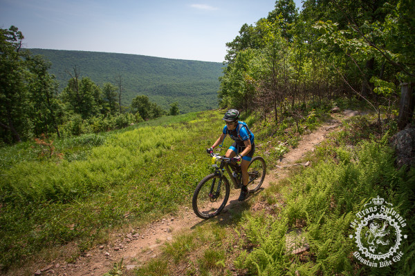 Karen Talley Mead (Two Wheel Fixation) enjoys the view during stage 6 of the NoTubes Trans-Sylvania Epic.