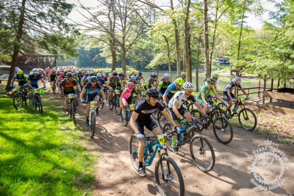 Racers set off for the start of the 36.9-mile stage 1 at the NoTubes Trans-Sylvania Epic